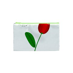 Red Tulip And Bee Cosmetic Bag (xs) by Valentinaart