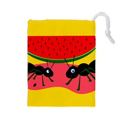 Ants And Watermelon  Drawstring Pouches (large)  by Valentinaart