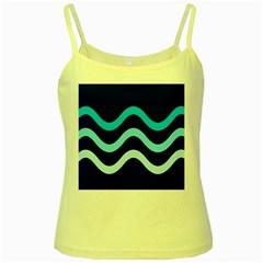 Blue Waves  Yellow Spaghetti Tank by Valentinaart