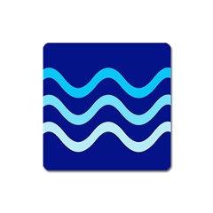 Blue Waves  Square Magnet by Valentinaart