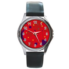 Red Abstract Sky Round Metal Watch by Valentinaart