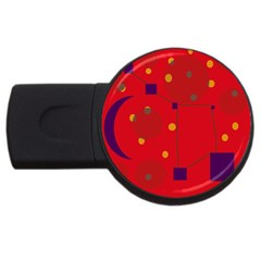 Red Abstract Sky Usb Flash Drive Round (4 Gb)  by Valentinaart