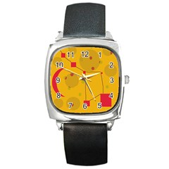 Yellow Abstract Sky Square Metal Watch by Valentinaart
