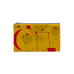 Yellow abstract sky Cosmetic Bag (Small)  by Valentinaart