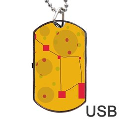 Yellow Abstract Sky Dog Tag Usb Flash (one Side) by Valentinaart