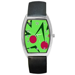 Cherries  Barrel Style Metal Watch by Valentinaart