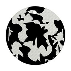 Black And White Elegant Design Ornament (round)  by Valentinaart