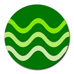 Green Waves Round Mousepads by Valentinaart