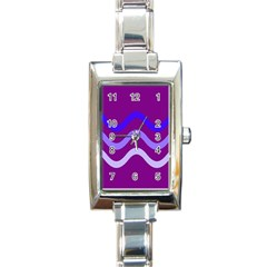 Purple Waves Rectangle Italian Charm Watch by Valentinaart