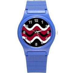 Decorative Waves Round Plastic Sport Watch (s) by Valentinaart