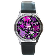 Purple Fowers Round Metal Watch by Valentinaart