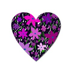 Purple Fowers Heart Magnet by Valentinaart