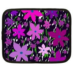 Purple Fowers Netbook Case (large) by Valentinaart