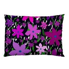 Purple Fowers Pillow Case (two Sides) by Valentinaart