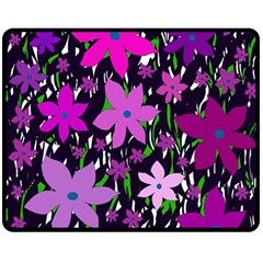 Purple Fowers Double Sided Fleece Blanket (Medium)  by Valentinaart