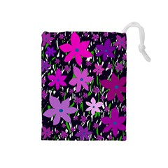 Purple Fowers Drawstring Pouches (medium)  by Valentinaart