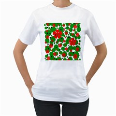 Red And Green Christmas Design  Women s T Shirt (white) (two Sided) by Valentinaart