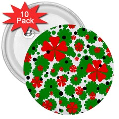 Red And Green Christmas Design  3  Buttons (10 Pack)  by Valentinaart