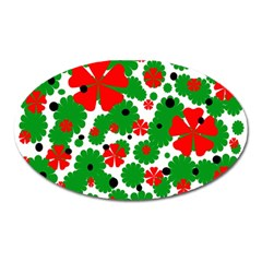 Red And Green Christmas Design  Oval Magnet by Valentinaart