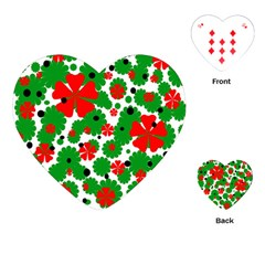 Red And Green Christmas Design  Playing Cards (heart)  by Valentinaart