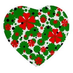 Red and green Christmas design  Heart Ornament (2 Sides) by Valentinaart