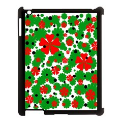 Red And Green Christmas Design  Apple Ipad 3/4 Case (black) by Valentinaart