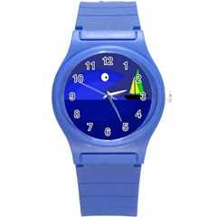 Blue Monster Fish Round Plastic Sport Watch (s) by Valentinaart