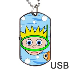 Diver Dog Tag USB Flash (Two Sides)  by Valentinaart