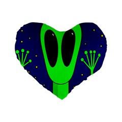 Alien  Standard 16  Premium Heart Shape Cushions by Valentinaart