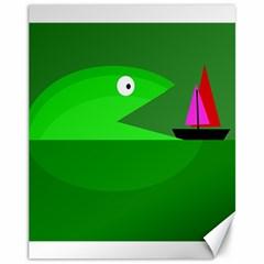 Green Monster Fish Canvas 11  X 14   by Valentinaart