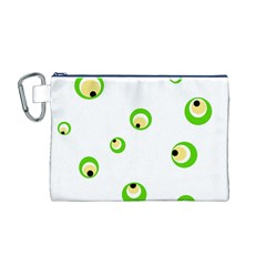 Green Eyes Canvas Cosmetic Bag (m) by Valentinaart