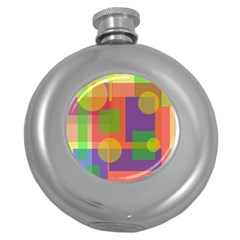Colorful geometrical design Round Hip Flask (5 oz) by Valentinaart
