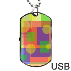 Colorful Geometrical Design Dog Tag Usb Flash (one Side) by Valentinaart