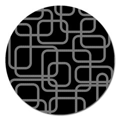 Black And Gray Decorative Design Magnet 5  (round) by Valentinaart