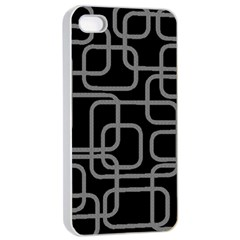 Black And Gray Decorative Design Apple Iphone 4/4s Seamless Case (white) by Valentinaart