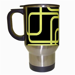 Yellow And Black Decorative Design Travel Mugs (white) by Valentinaart