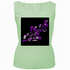 Purple Decorative Abstraction Women s Green Tank Top by Valentinaart