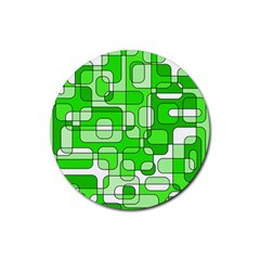Green Decorative Abstraction  Rubber Coaster (round)  by Valentinaart