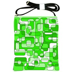 Green Decorative Abstraction  Shoulder Sling Bags by Valentinaart