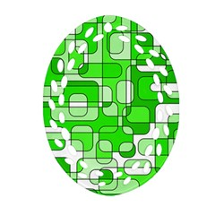 Green Decorative Abstraction  Ornament (oval Filigree)  by Valentinaart