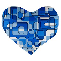 Blue Decorative Abstraction Large 19  Premium Flano Heart Shape Cushions by Valentinaart