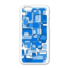 Blue Decorative Abstraction Apple Iphone 6/6s White Enamel Case by Valentinaart