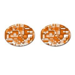 Orange decorative abstraction Cufflinks (Oval) by Valentinaart