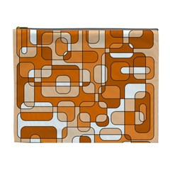 Orange Decorative Abstraction Cosmetic Bag (xl) by Valentinaart