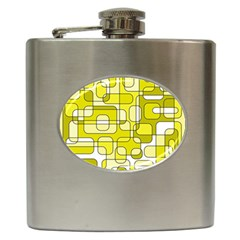 Yellow Decorative Abstraction Hip Flask (6 Oz) by Valentinaart