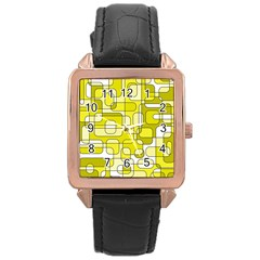 Yellow Decorative Abstraction Rose Gold Leather Watch  by Valentinaart