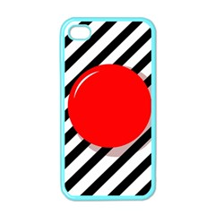 Red Ball Apple Iphone 4 Case (color) by Valentinaart