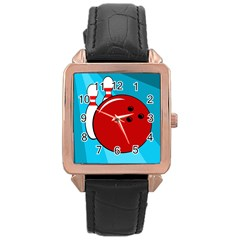 Bowling  Rose Gold Leather Watch  by Valentinaart
