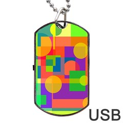 Colorful Geometrical Design Dog Tag Usb Flash (two Sides)  by Valentinaart