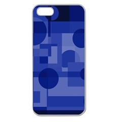 Deep Blue Abstract Design Apple Seamless Iphone 5 Case (clear) by Valentinaart